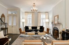 Katie Lee's Home  Lovely NY City living room with pale gray blue walls paint color, navy ...