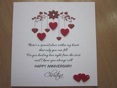 Personalised Handmade Anniversary, Engagement, Wedding Day Card - Husband, Wife