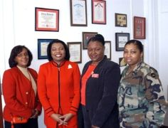Delta Sigma Theta Reaches Out to Military Communities Local and Stateside Members of the Delta Sigma Theta Sorority - the largest African-American women's sorority in the world - meet at Camp Zama this month. From left are Dr. Vanita Nicholas; Dr. Thelma James Day, far west regional director; Bonnie Cheatham, Tokyo Alumnae Chapter president; and Maj. Jacqueline Lett, Camp Zama.  photo credit: Juliana Gittler / Stars and Stripes