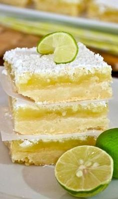 Key Lime Bars Would probably scale back the sugar by 14 cup like she suggests increase juice to 13 cup increase zest to 2 tablespoons Sounds yummy though Key Lime Desserts, Just Desserts, Delicious Desserts, Yummy Food, Lemon Desserts, Biscuits Brownies, Cookies Et Biscuits, Bar Cookies, Cookie Bars