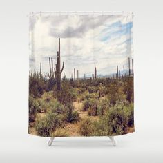 Southwestern Shower Curtain Cactus By DreameryPhoto