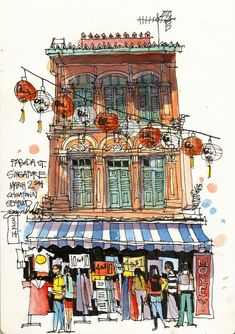 Urban Sketchers: James Richards. Singapore: A shophouse in Chinatown, sketched from a cafe table