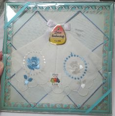 1960s Vintage Unopened Box of 2 Lady's Blue Embroidered Handkerchiefs, All Cotton Fruit of the Loom, Pretty Vintage Box, Vintage Clothing by VictorianWardrobe on Etsy