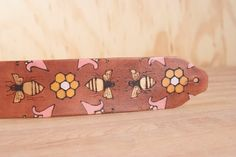 Leather Ukulele Strap - Handmade leather in the Meadow Pattern - bees, flowers and honeycomb