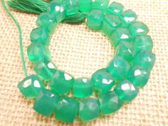 Green Onyx 3D Cube Faceted Stone Beads 8 Long by gemsgemsn on Etsy