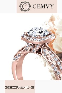 Exquisite inspired halo diamond engagement ring from Gemvy. 0.50 carats vs diamonds. Half-shank bead set pave. 1 carat center.