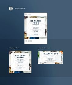 Ready-to-use Instagram posts Template | Healthy Food - #Templates. Instagram posts design for healthy food shop. Instagram posts for nutritionist.