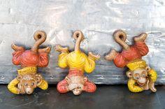 Vintage Hear no evil...Monkeys - Van Tellingen Pin Ups w/ Original Box  my mum would love this