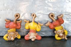 Vintage Hear no evil...Monkeys - Van Tellingen Pin Ups w/ Original Box