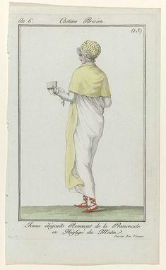Anonymous   Journal des Dames et des Modes, Costume Parisien, 2 juin 1798, An 6, (23): Jeune élégante Revenant..., Anonymous, Sellèque, Pierre de la Mésangère, 1798   'Négligé'  voor in de ochtend. Gestippelde muts afgezet met een doorzichtige strook stof. Lange sjaal om de schouders, zakdoek, platte schoenen met linten ('cothurnes'?). Volgens het onderschrift komt de jonge elegante vrouw net terug van haar wandeling en is deze voorstelling naar het leven getekend op de 'Rue Vivienne'. De…