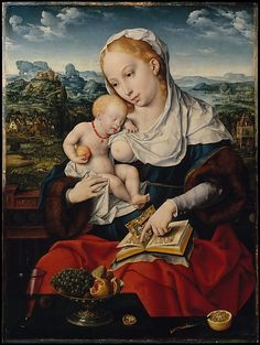 Joos van Cleve | Virgin and Child, ca 1525 | The Met Museum NY. Collection of Edward J. Berwind, The Elms, Newport, R.I. (until d. 1936) ; then his sister, Julia A. #Berwind The Elms (1936–d. 1961; her estate sale, Parke-Bernet, New York, June 27–28, 1962, no. 222, sold for $40,000 to Frederick P. Victoria for Linsky) #art #painting #artist #artwork #MET