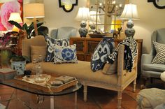 Design with #greys and #blues like this inspired #PalmBeach #Mecox #sofa vignette. #interiordesign #MecoxGardens #furniture #shopping #home #decor #design #room #designidea #vintage #antiques #garden