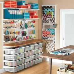 Craft Room Elfa Storage Solution I would love a craft room like this!