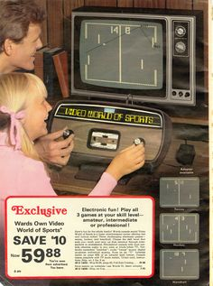 Montgomery Ward Christmas catalogue ad for Pong. Retro Vintage, Retro Ads, My Childhood Memories, Childhood Toys, Old Advertisements, Advertising, Montgomery Ward, Retro Video Games, Old Ads