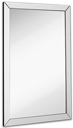 Allen roth 30 in x 40 in silver beveled rectangle framed for Large flat bathroom mirrors