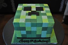 Minecraft Birthday Cake Sugar Bee Sweets Bakery www.sugarbeesweets.com Minecraft Birthday Cake, Kid Cakes, Cube, Bakery, Sweets, Sugar, Kids, Young Children, Kids Ca
