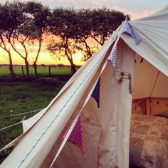Image: Courtesy of The Bells of Hemscott. Tent at The Bells of Hemscott. Northumberland, UK. A peek into a Belle tent at Bells of Hemscott in Northumberland, UK.  #beautiful #skies #LotusBelle #tents #camping #UK #res #BeautifulNow
