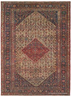 Sultanabad, 10ft 7in x 14ft 3in, Late 19th Century.  A vivid diamond medallion in striking pure carnelian adds a dramatic flourish to this spirited antique Persian carpet. Its unusually fine weave and widely sought after ivory ground impart a crisp clarity to every stylized motif, while offering an overall geometric, rather than floral, theme. As with the majority of our inventory, this room size Oriental carpet's great uniqueness and elevated artistry ensure a lifetime of boundless…