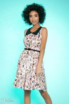 f22d2266b 50's Inspired Full Day Dress With Contrasting Collar in Squirrel Print