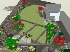 Back Garden Design, Garden Design Plans, Patio Design, Backyard Designs, Backyard Ideas, Backyard Layout, Backyard Landscaping, Landscaping Design, Narrow Garden