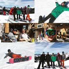 When the #lordsoftheboards let you be the #tokenskier for the day #mountainlife #skiing #boarding #snowballfight #lostglove #sunburn