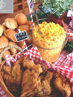 event styling: Baby-Q Baby Shower - Fried Chicken and Mac & Cheese #eventstyling #babyshower #bbq #diy