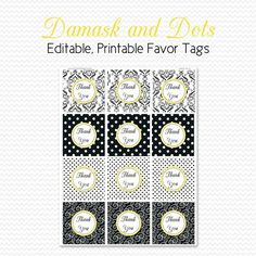 Bridal Shower Favor Tags Damask and Dots by PrintCreateCelebrate, $5.00