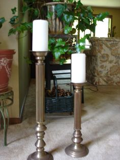 Vintage Tall Brass Candlestick Holders FLOOR, 1 PAIR (2)