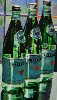 Tall Drink of Water (Still life San Pellegrino) by Carrie Waller Watercolor ~ 35 x 20 Painting Still Life, Still Life Art, Hyper Realistic Paintings, Painting Competition, San Pellegrino, Art Themes, Photorealism, Watercolor Paintings, Watercolors