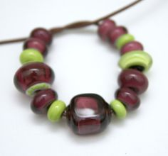 Set of Purple and Lime Green Beads Handmade by blancheandguy, $25.00