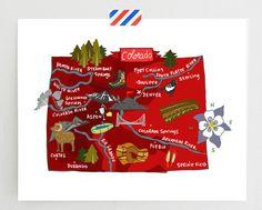 Colorado illustrated map par helloniccoco