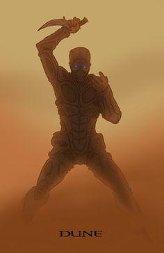 The Kwsatz Haderach combat ready in Fremen Stillsuit with Kris knife on Arrakis (#Dune)