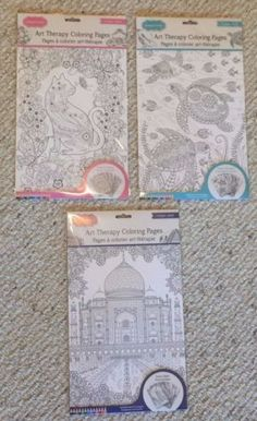 Lot Of 3 New High Quality Adult Coloring Pages Sets.    All sets are brand new in plastic wrapped packages,   and include 6 unique sheets/designs.