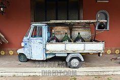 old ape piaggio van for wine transportation stock photo