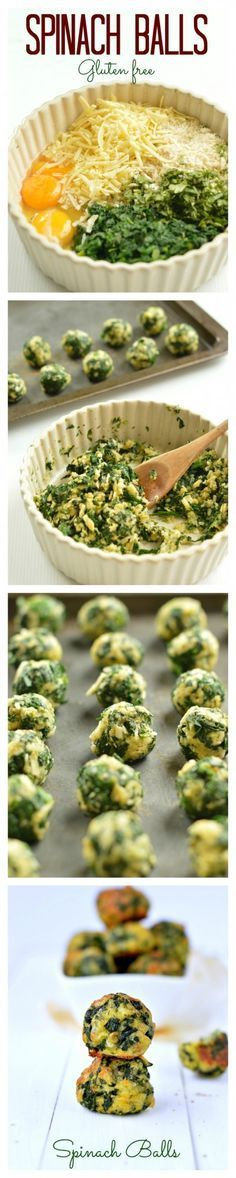 Cheesy Spinach Balls. Gluten free, 5 ingredients and perfect for as an healthy appetizer or side dish.