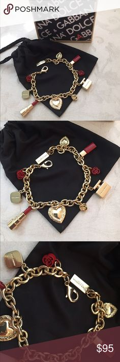 Dolce and Gabbana Gorgeous Charm Bracelet Authentic Dolce and Gabbana Gold Tone bracelet, nine beautiful charm, in a shape of one lipstick, one flower, one heart, one perfume bottle, and a D and G logo, lobster clasp closure, adjustable, measure 10 inches approx. Dolce & Gabbana Jewelry Bracelets