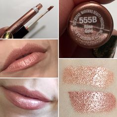 * Wet 'n' Wild Megaslicks Lip Gloss in Rose Gold.  Bottom swatch shows it above Bronze Berry for color comparison.