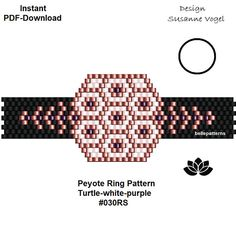 DETAILS: YOU PURCHASE A DOWNLOADABLE PDF-PATTERN TO CREATE THIS BEAUTIFUL TREASURE ON YOUR OWN. Turtle-white-purple #030RS For having an easier start you will get two start-pdf files (an image, a different bead legend, bead & word-chart) you can use instead of the usual pdf files. A Bead Loom Patterns, Peyote Patterns, Bracelet Patterns, Beading Patterns, Peyote Beading, Bead Crochet Rope, Ring Shapes, Ring Designs, Embroidery