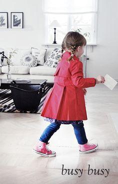 red coat. pink chucks