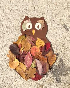 Eule aus Blättern - Basteln im Herbst
