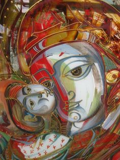 Theotokos contemporary glass icon by Oksana Romaniv-Triska Divine Mother, Mother Mary, Mother And Child Painting, Holy Mary, Madonna And Child, Children Images, Orthodox Icons, My Favorite Image, Blessed Mother