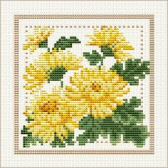 November - Chrysanthemum, Project 2010 - Flower of the Month, designed by Ellen Maurer-Stroh, from EMS Cross Stitch Design.
