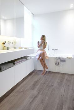 Bathroom Laminate flooring is a simple way to update your bathroom. Not only is laminate flooring simple, but it also adds a sense of warmth to your bathroom. Many homeowners are spending a lot of time at home, and it is always nice to have a warm, inviting home to relax in.   #bathroomsLaminateflooring #bathroomsLaminate #bathroomsflooring #bathroomswaterproofflooring