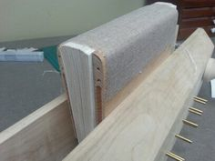 Once the book is sewn, a slight round and linen spine lining are added. Next comes plowing, which is essentially trimming down the text block to the board edge with a super sharp blade. Unfortunately, I don't have any pictures of this step.