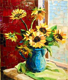 Sunflowers by the Window in the Red Room by Grandmother Moon Mosaics, Art! Paper Mosaic, Mosaic Crafts, Mosaic Projects, Stained Glass Art, Mosaic Glass, Mosaic Tiles, Mosaic Designs, Mosaic Patterns, Mosaic Artwork