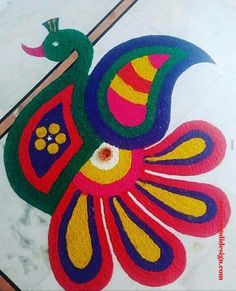 50 Cute Rangoli Design (ideas) that you can make yourself or get it made during any occasion on the living room or courtyard floors. Rangoli Designs Peacock, Easy Rangoli Designs Diwali, Simple Rangoli Designs Images, Rangoli Designs Latest, Free Hand Rangoli Design, Rangoli Border Designs, Small Rangoli Design, Rangoli Patterns, Colorful Rangoli Designs