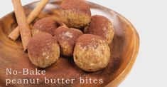 No-Bake peanut butter bites Really easy to make, with only six ingredients. It will take you about 10 to 15 min to prepare and you can keep them in the fridg. Peanut Butter Bites, Energy Bites, Healthy Snacks, Almond, Sugar, Make It Yourself, Chocolate, Baking, Vegetables