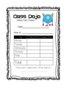 Class Dojo Weekly Tracker!
