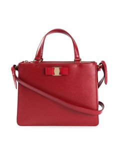 SALVATORE FERRAGAMO Tracy Red Saffiano Leather Bow Satchel Crossbody Handbag #SalvatoreFerragamo #Satchel