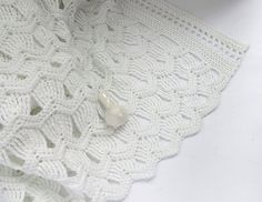 Christening Fans Blanket. 100% Cotton, Crochet. Vintage Fan Ripple Pattern. Available in my Etsy Shop!
